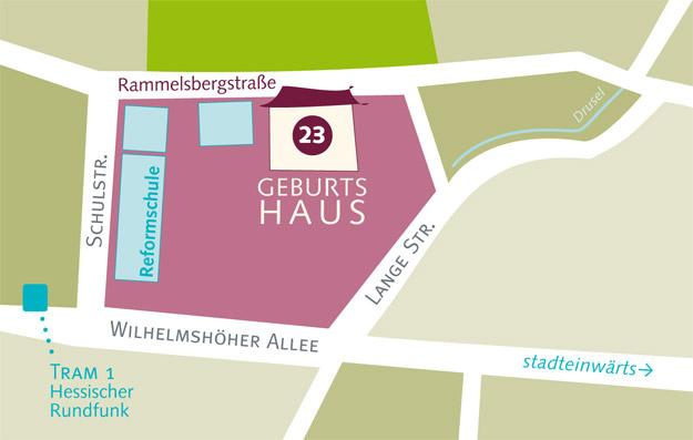 Karte Anfahrt zum Geburtshaus Kassel
